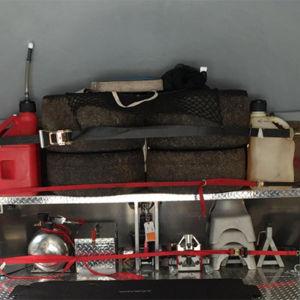 best storage use of enclosed Aerovault trailer nose shelf